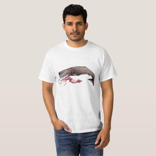 Camiseta hombre cachalote y calamar gigante