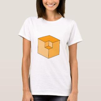 Camiseta Ilusión óptica - cubos anaranjados