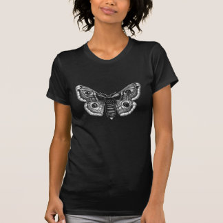 Camiseta Ilustracion del vintage de una polilla en blanco y