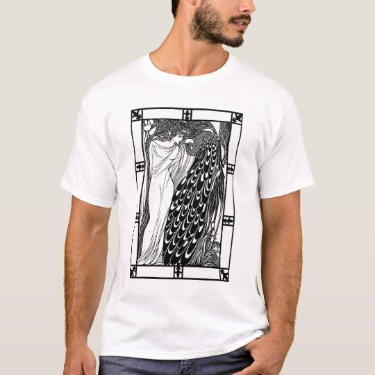 Camiseta Ilustraciones del pavo real de Nouveau del arte -