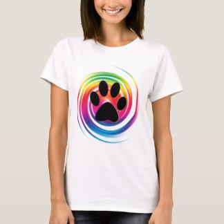 Camiseta Impresión de la pata en remolino del arco iris