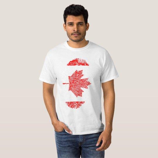 Camiseta Impresión roja y blanca del pulgar de la hoja de