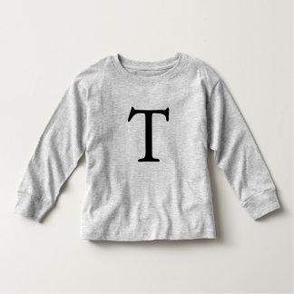 Camiseta inicial negra con monograma de la letra T