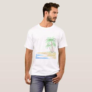 Camiseta Isla tropical ilustrada con las ciudades de la