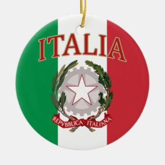 Camiseta italiana del escudo de armas de la adorno navideño redondo de cerámica