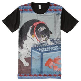 Camiseta japonesa del arte del gato y de los