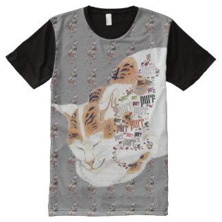 Camiseta japonesa del arte del ronroneo del gato