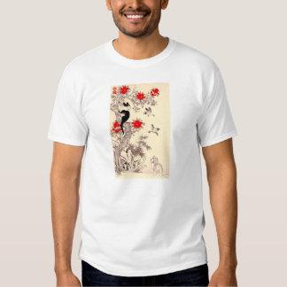 Camiseta japonesa del gatito y del perrito