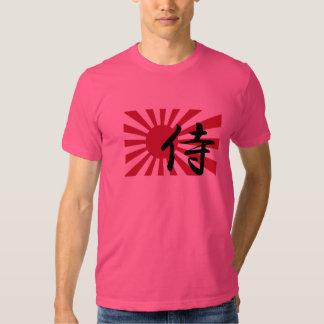 Camiseta japonesa del samurai del sol naciente