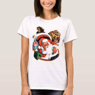 Camiseta Juegos de Papá Noel con un tren del juguete