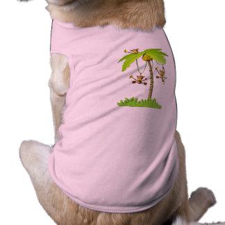 Camiseta juguetona del mascota de los monos