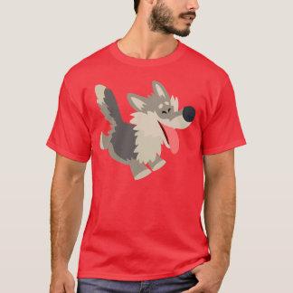 Camiseta juguetona linda del lobo del dibujo