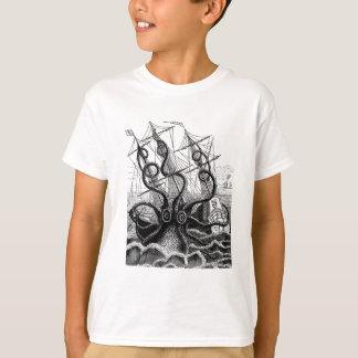 Camiseta Kraken/pulpo Eatting un barco pirata, negro/blanco