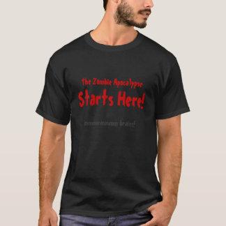 Camiseta La apocalipsis del zombi comienza aquí