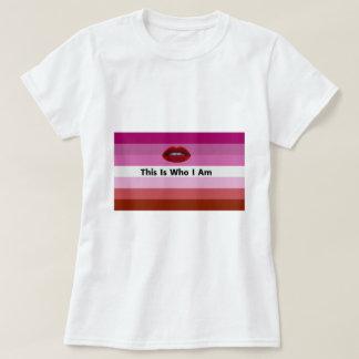 Camiseta la bandera lesbiana del orgullo colorea el