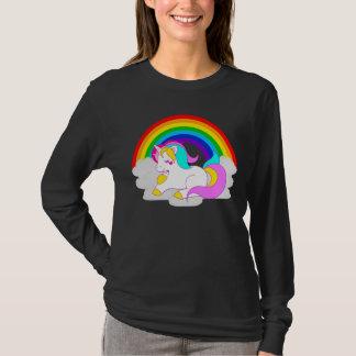 Camiseta La manga larga del unicornio de la nube de las