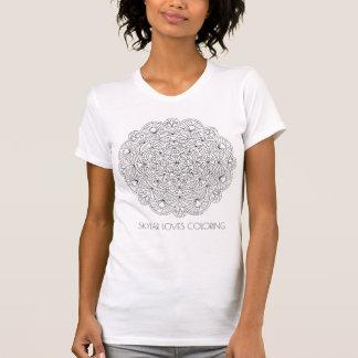 Camiseta La moda del colorante del adulto de la mandala