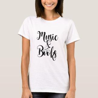Camiseta la música y los libros citan el regalo de la