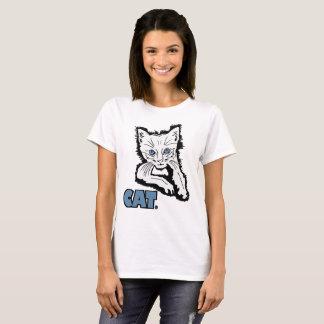 Camiseta La ropa blanca del estampado de animales del gato