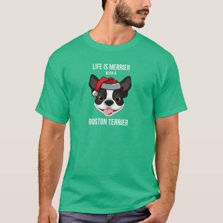 Camiseta La vida es más feliz con una Boston Terrier