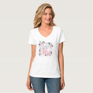 Camiseta La vida es mejor con los gatos