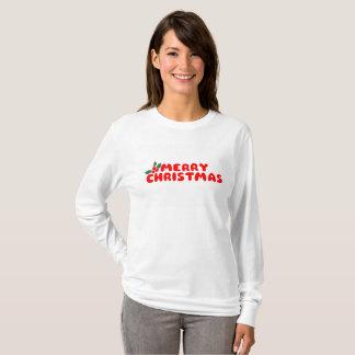 Camiseta larga de la manga de las Felices Navidad