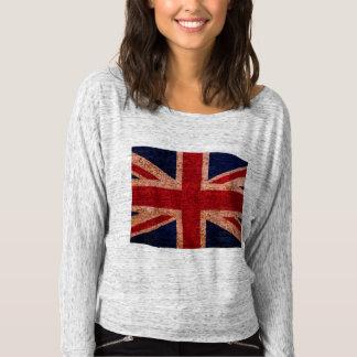 Camiseta larga de la manga de Union Jack de las