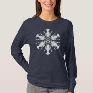Camiseta larga de la manga del copo de nieve