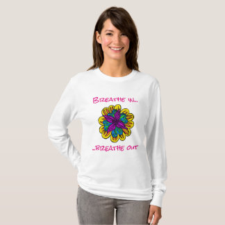 Camiseta larga de la manga del flower power