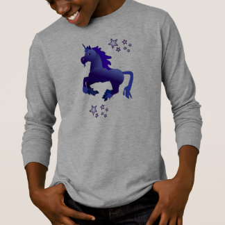 Camiseta larga de la manga del niño azul del