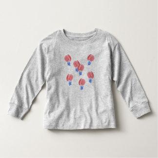 Camiseta larga de la manga del niño de los balones