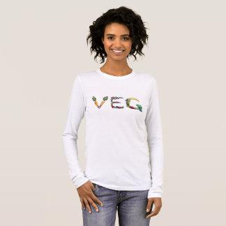 Camiseta larga de la manga del vegetariano o del