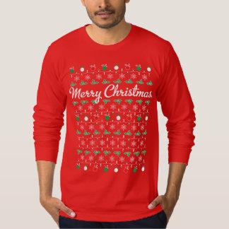 Camiseta larga del rojo de la manga de las Felices