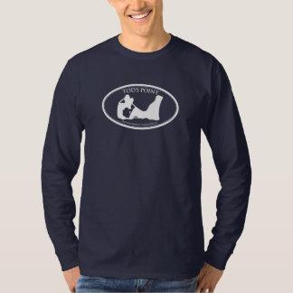 Camiseta larga oscura de la manga del punto de