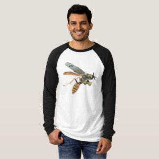 Camiseta largo-envuelta militares del avión y de