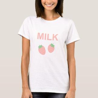 Camiseta Leche en colores pastel de la fresa