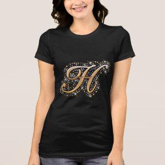 Camiseta Letra inicial H del monograma del oro