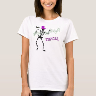 Camiseta Libertino Skeletion y palo Halloween