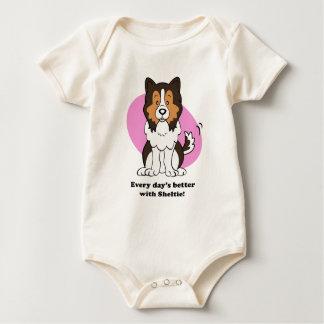 Camiseta linda del bebé de Sheltie del perro del
