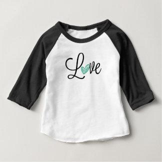 Camiseta linda del béisbol del bebé del amor