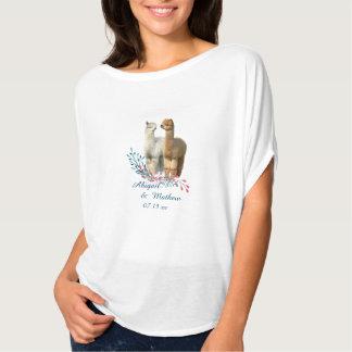 Camiseta linda del boda del país de la alpaca