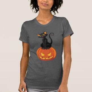 Camiseta linda del gato de Halloween con el gato y