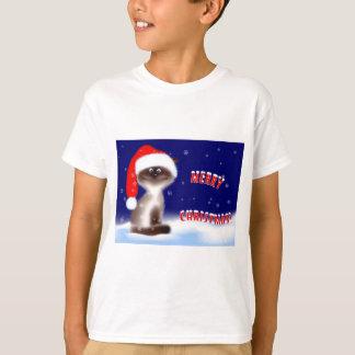 Camiseta linda del gato de Santa