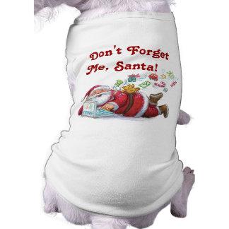 Camiseta linda del perro del navidad de Santa