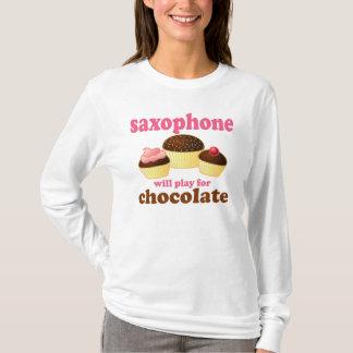 Camiseta linda del saxofón