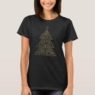 Camiseta Línea ornamental árbol de navidad de oro del