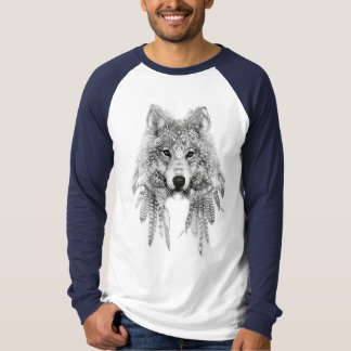 Camiseta Lobo en manga larga del raglán indígena de la ropa