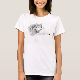 Camiseta lobo gris y lobo blanco