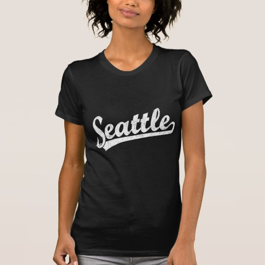 Camiseta Logotipo de la escritura de Seattle en blanco