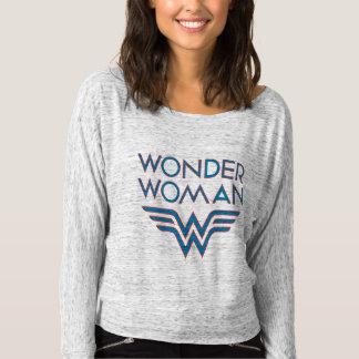 Camiseta Logotipo retro azul y rojo de la Mujer Maravilla